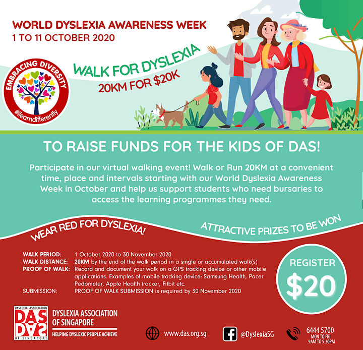 Logo of WALK FOR DYSLEXIA – 20KM FOR $20K 2020